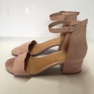 👑 Mari A. Nova Block Heel Sandals Pink Blush Sz 8